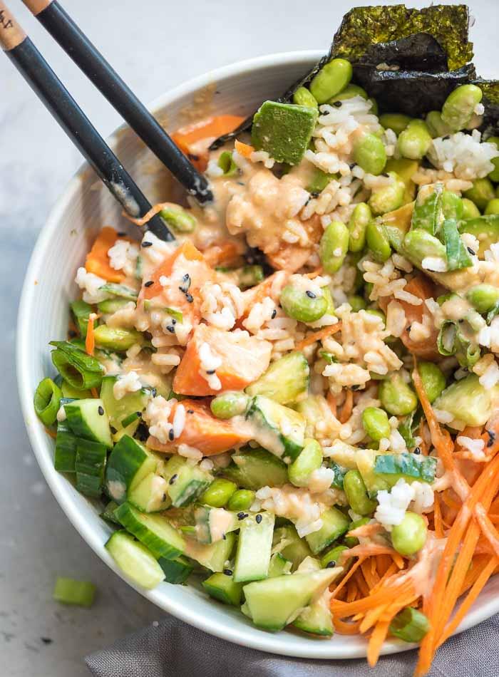 Vegan Spicy Vegan Mayo Sushi Bowls - Running on Real Food