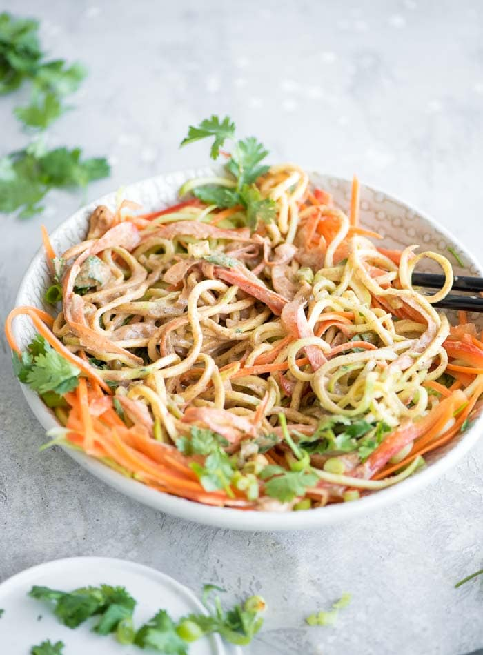 Cold Pad Thai Vegetable Noodle Salad - Running on Real Food