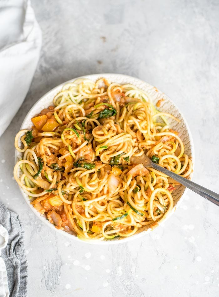 Low Carb Zucchini Noodles with Tomato Lentil Sauce