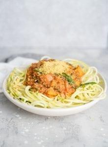 Vegan Vegetable Lentil Zucchini Noodles - Running on Real Food