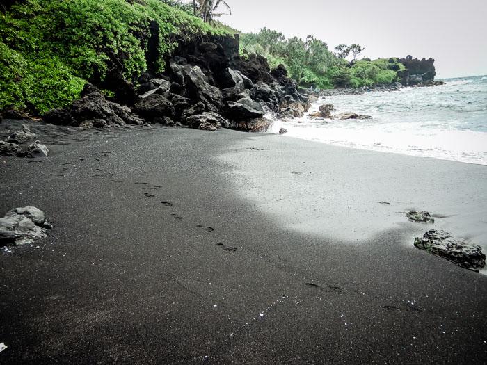 Black Sand Beach on The Road to Hana, Maui, Hawaii - Running on Real Food