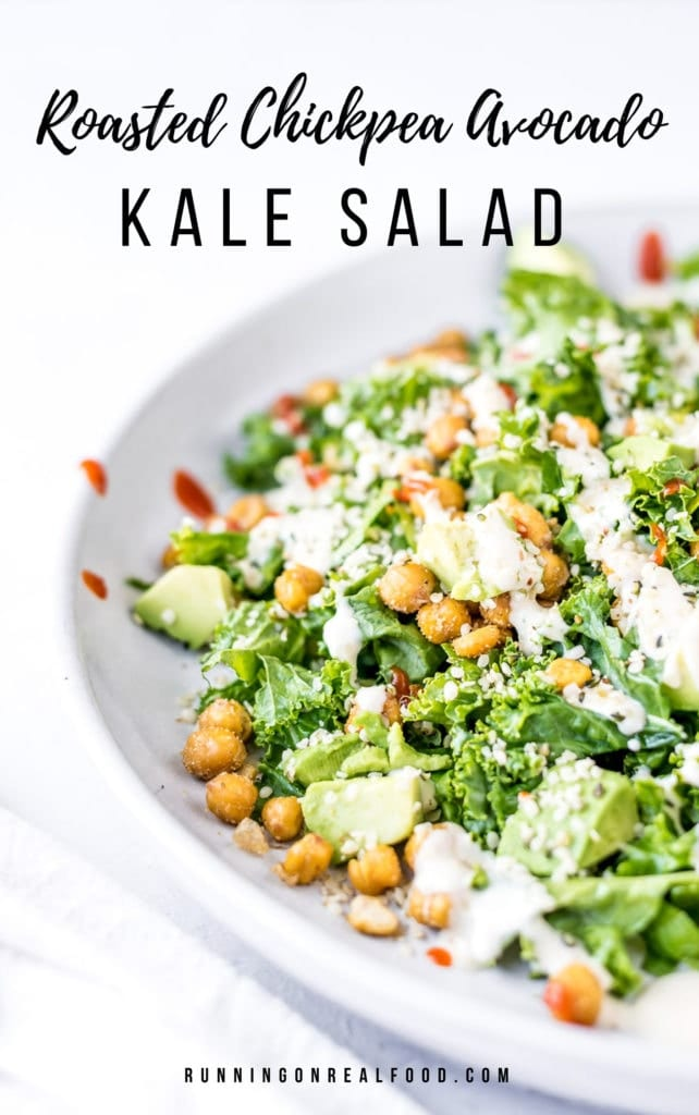 roasted chickpea avocado kale salad