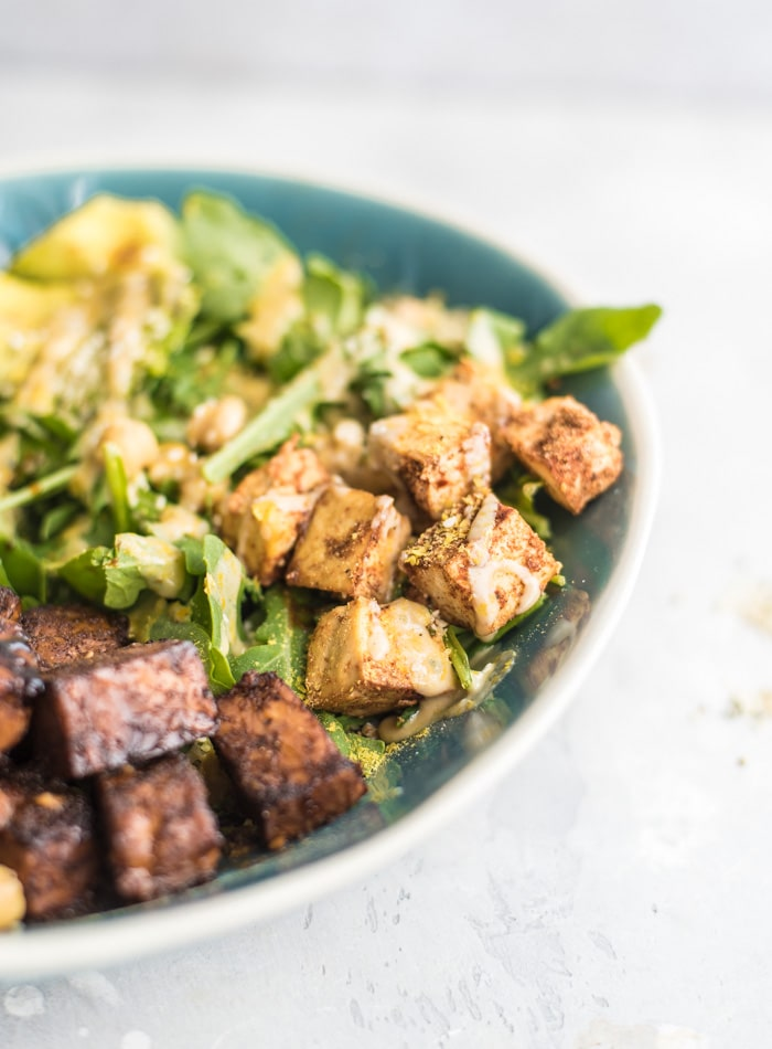 Healthy Vegan Salad with Tempeh and Tofu - Running on Real Food