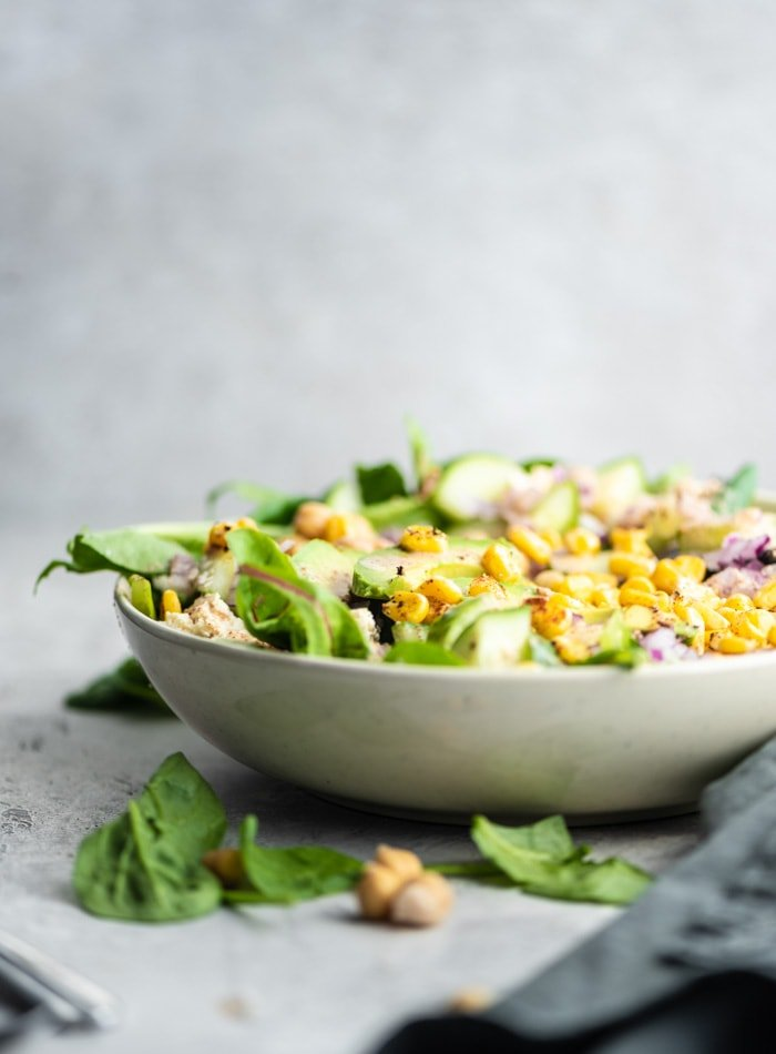 Avocado Corn Salad with Lime Almond Dressing