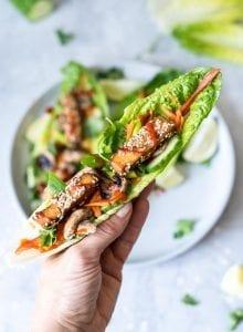 Vegan Tofu Lettuce Wraps with Avocado and Sriracha - Running on Real Food