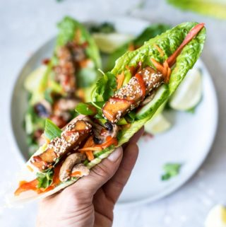 Vegan Tofu Lettuce Wraps with Avocado and Sriracha - Running on Real Food