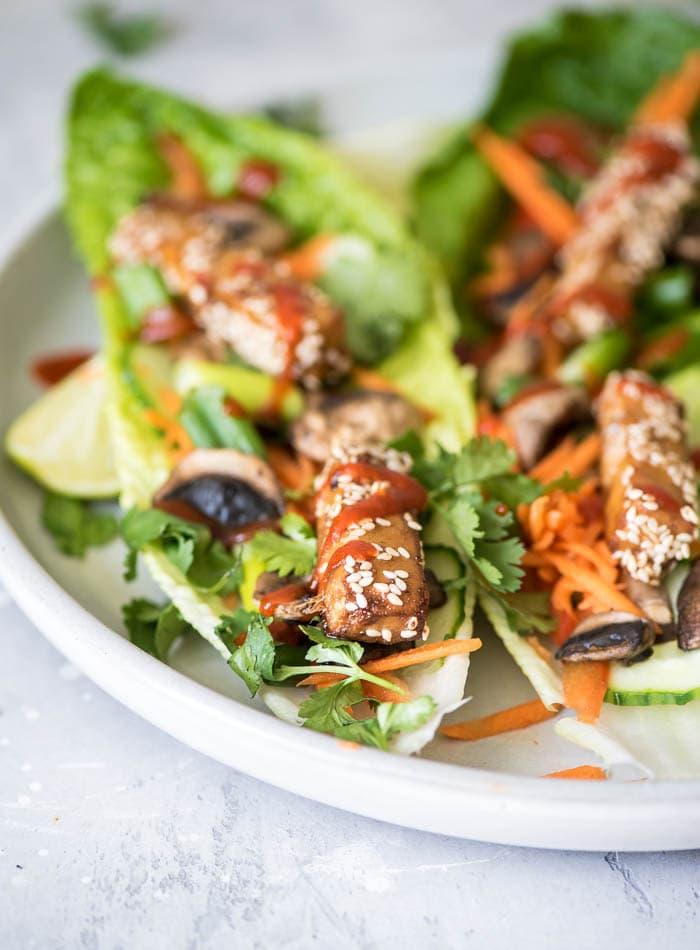 Vegan Tofu Lettuce Wraps - Running on Real Food
