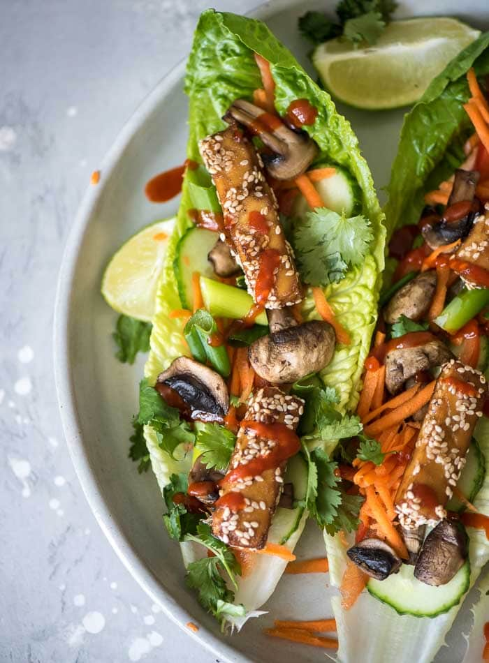 Baked Sesame Tofu Lettuce Wraps - Running on Real Food