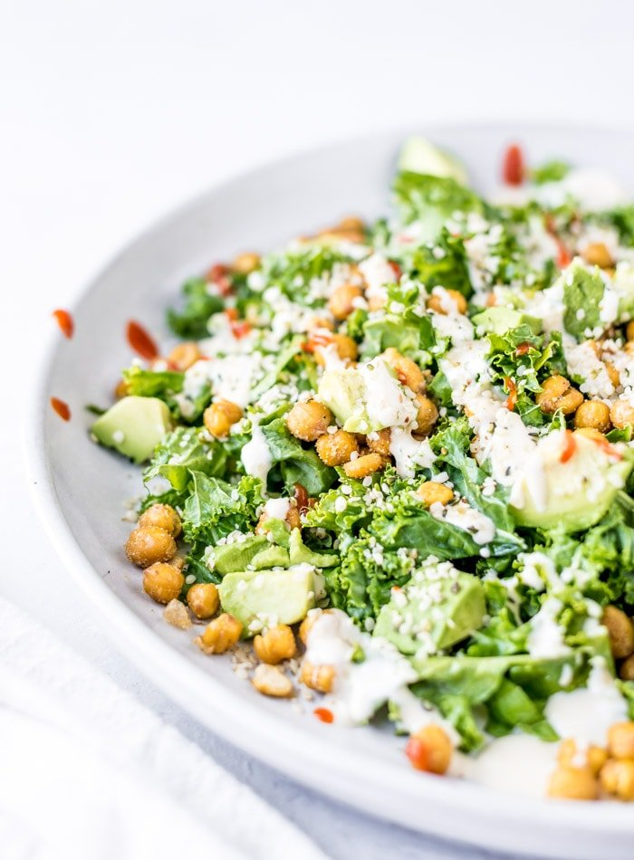 Kale Avocado Salad with Roasted Chickpeas - Running on Real Food