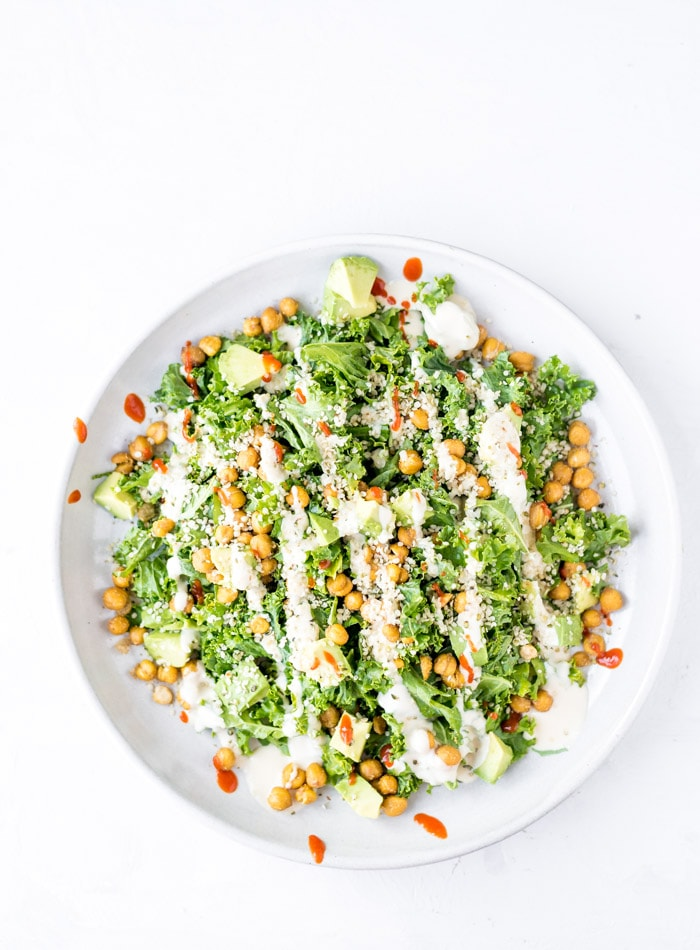 Roasted Chickpea Kale Salad with Avocado - Running on Real Food