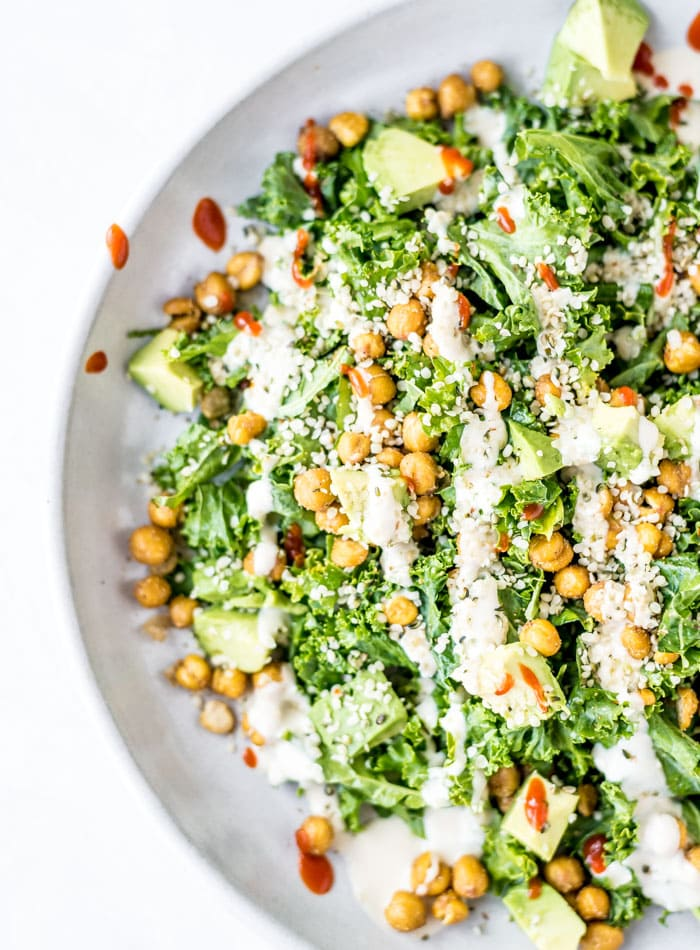 Vegan Kale Avocado Salad - Running on Real Food
