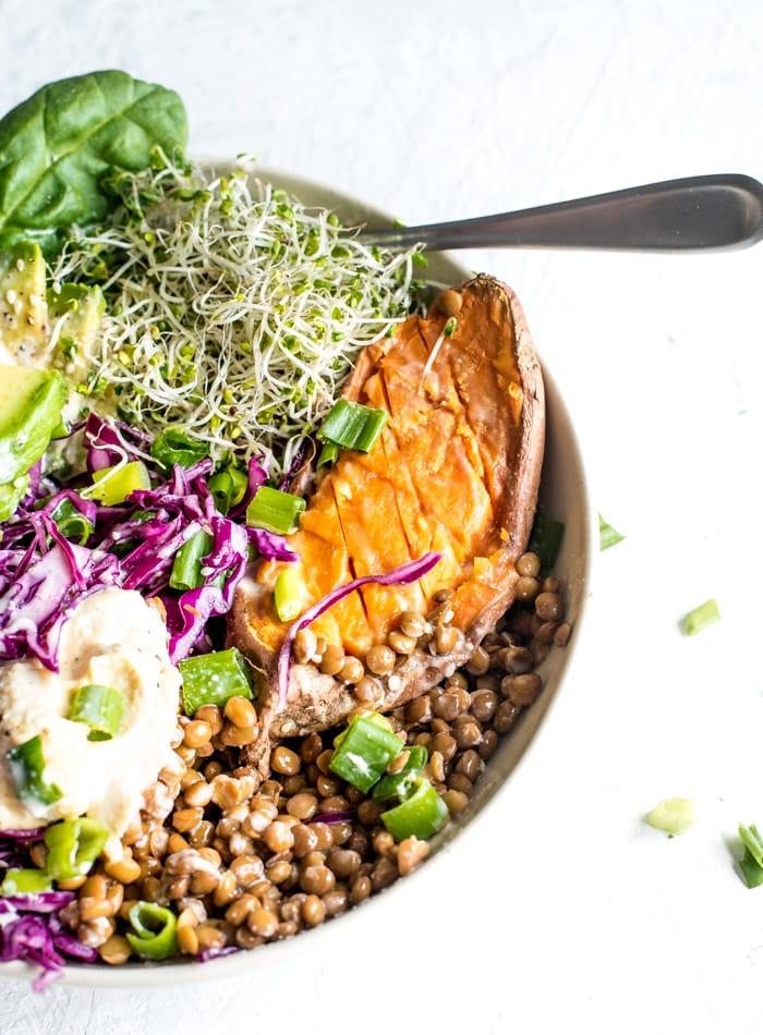 Sweet Potato Vegan Budda Bowls - Running on Real Food