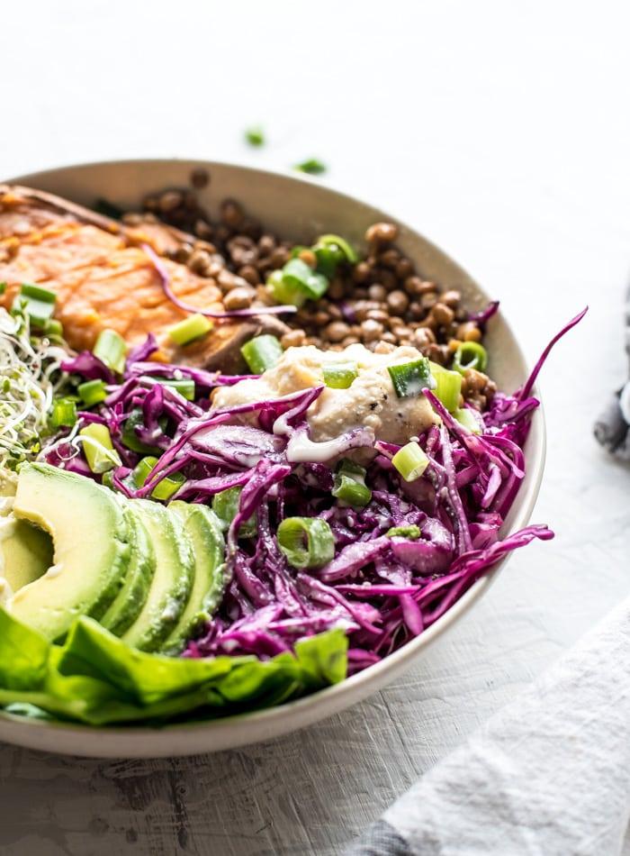 Lentil and Sweet Potato Budda Bowl - Running on Real Food