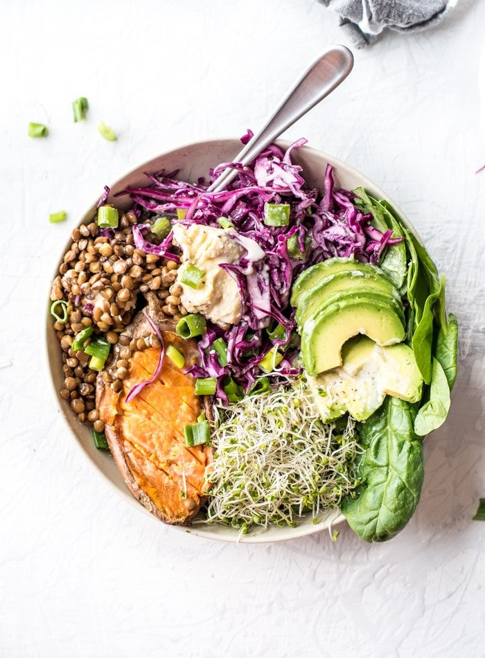 Vegan Sweet Potato Buddha Bowls - Running on Real Food