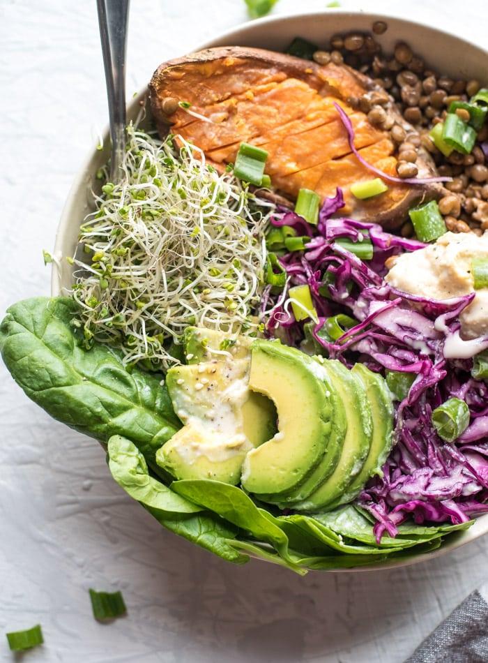 Vegan Lentil Avocado Buddha Bowls - Running on Real Food