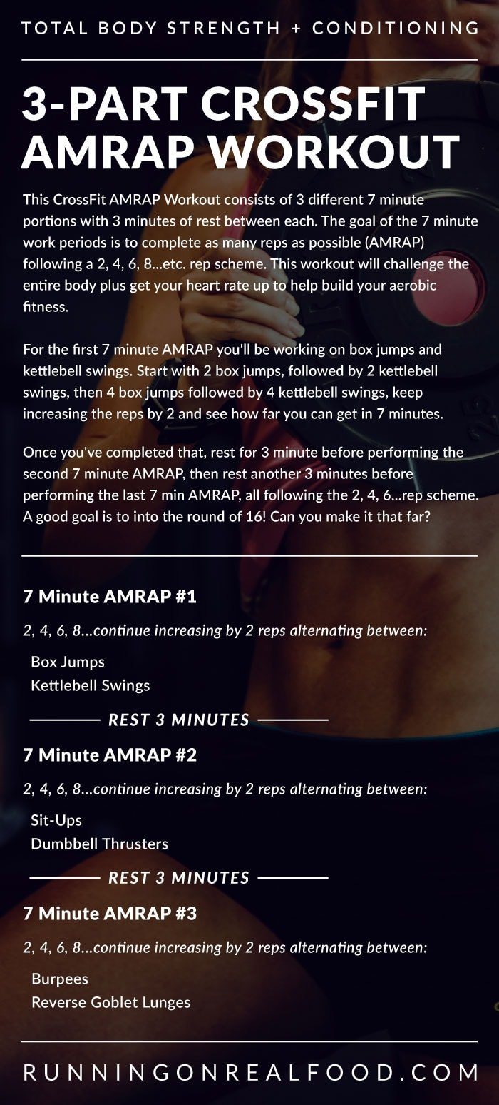 3-Part 28 Minute CrossFit AMRAP Workout for Strength and Conditioning - Running on Real Food Workouts