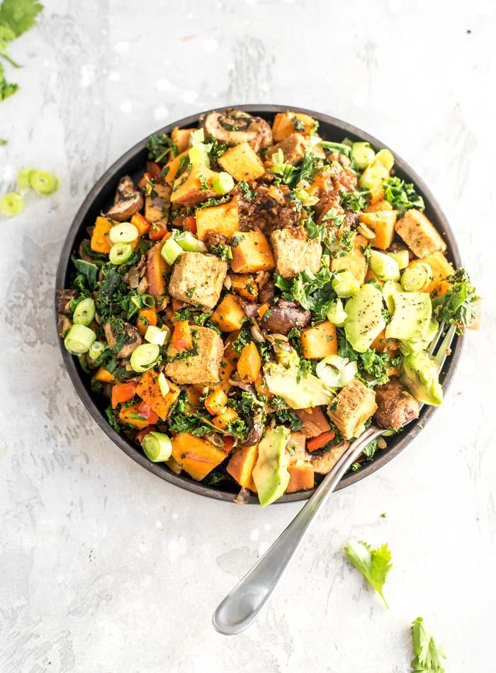 Vegan Sweet Potato and Kale Breakfast Hash Recipe