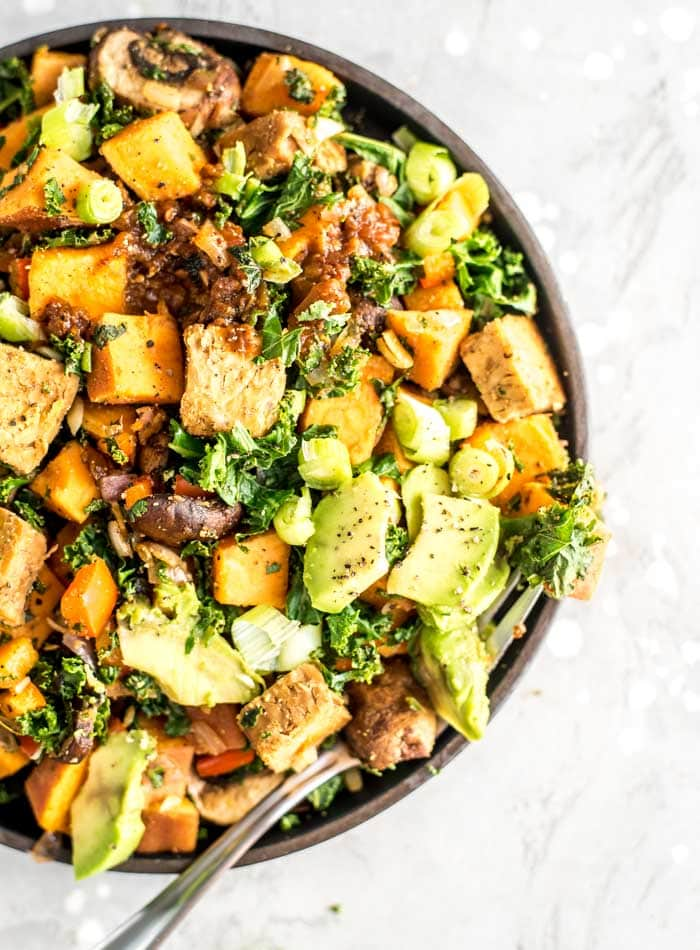 Easy Breakfast Tempeh Sweet Potato Hash Recipe - Running on Real Food