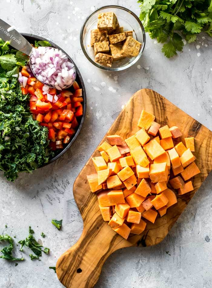 Ingredients for Easy Healthy Sweet Potato Hash - Running on Real Food