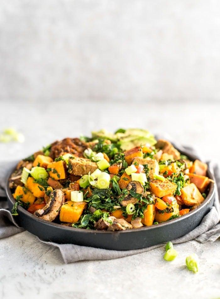 Vegan Sweet Potato Tempeh Kale Hash Recipe - Running on Real Food