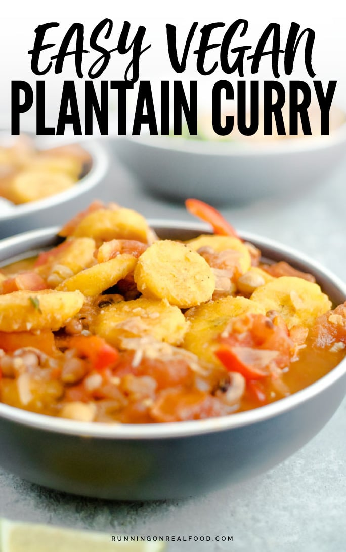 This spicy vegan plantain curry is quick and easy to make and features fresh tomatoes, cinnamon, cumin, black eyed peas and chickpeas. Serve with basmati or brown rice for a filling, healthy plant-based meal. Naturally gluten-free.