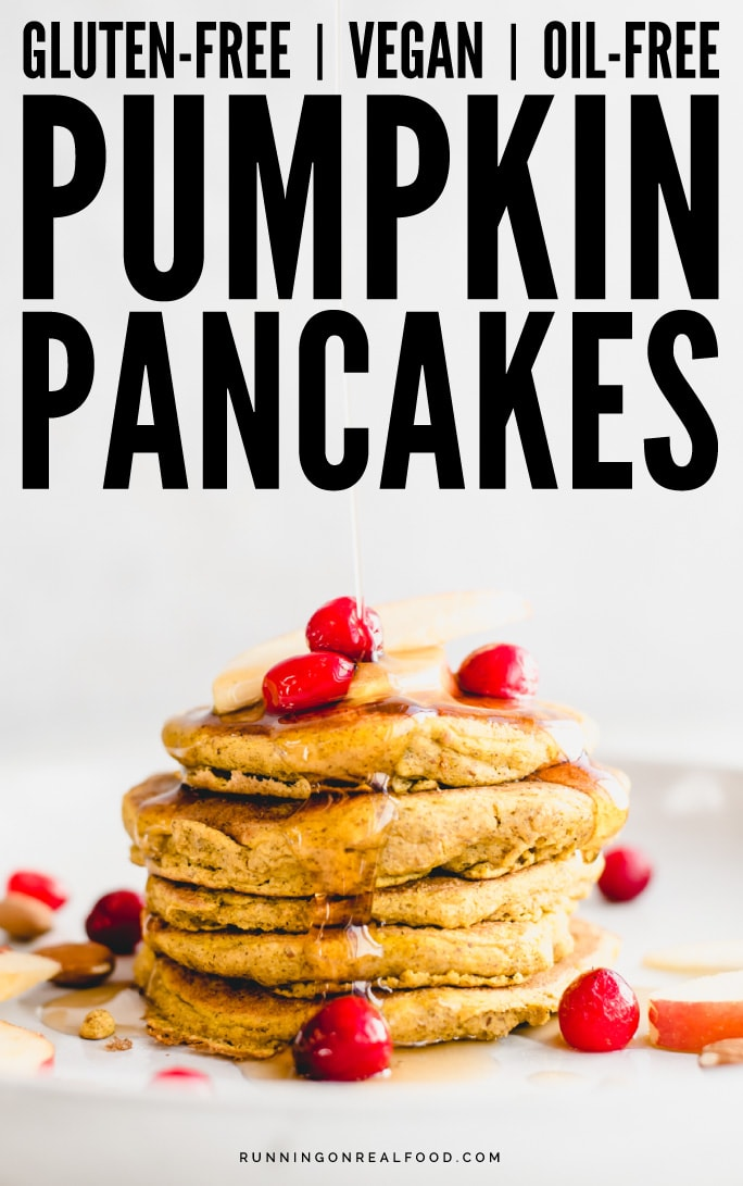 These gluten-free vegan pumpkin pancakes take just 10 minutes to make and are oil-free and sugar-free too!