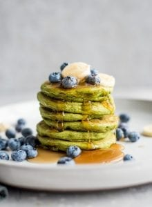 Green Vegan Gluten-Free Protein Pancakes - Running on Real Food