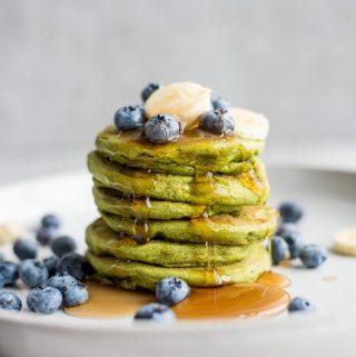 Green Vegan Gluten-Free Protein Pancakes - Running on Real Food