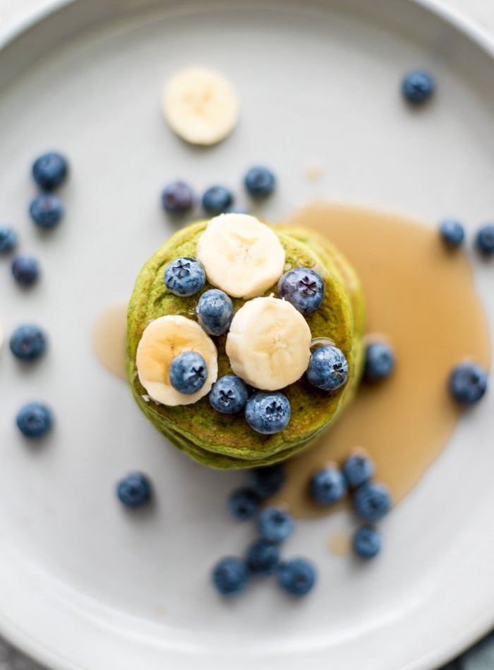 Vegan Gluten-free Protein Pancakes with Spinach - Running on Real Food