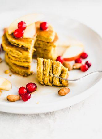 Oil-Free Sugar-Free Vegan Pumpkin Pancake Recipe - Running on Real Food