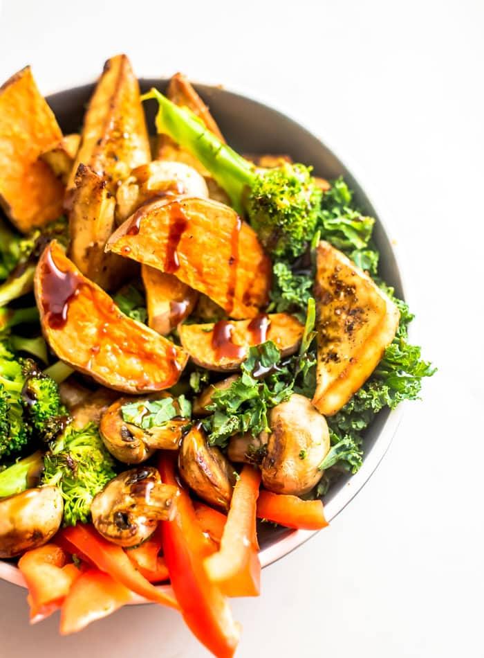 Vegan Sweet Potato Tofu Bowls with Broccoli - Running on Real Food