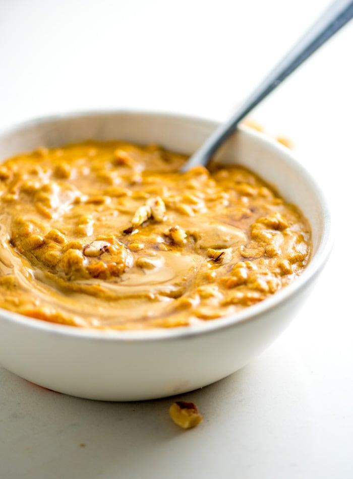 Healthy Vegan 5-Minute Pumpkin Breakfast Farro Bowls Recipe - Running on Real Food