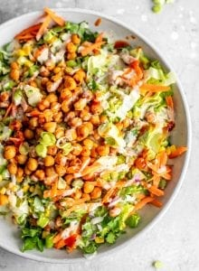 Healthy Vegan BBQ Chickpea Salad Recipe with Tahini Ranch Dressing