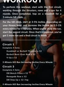 Workout instructions for a strength training circuit workout.