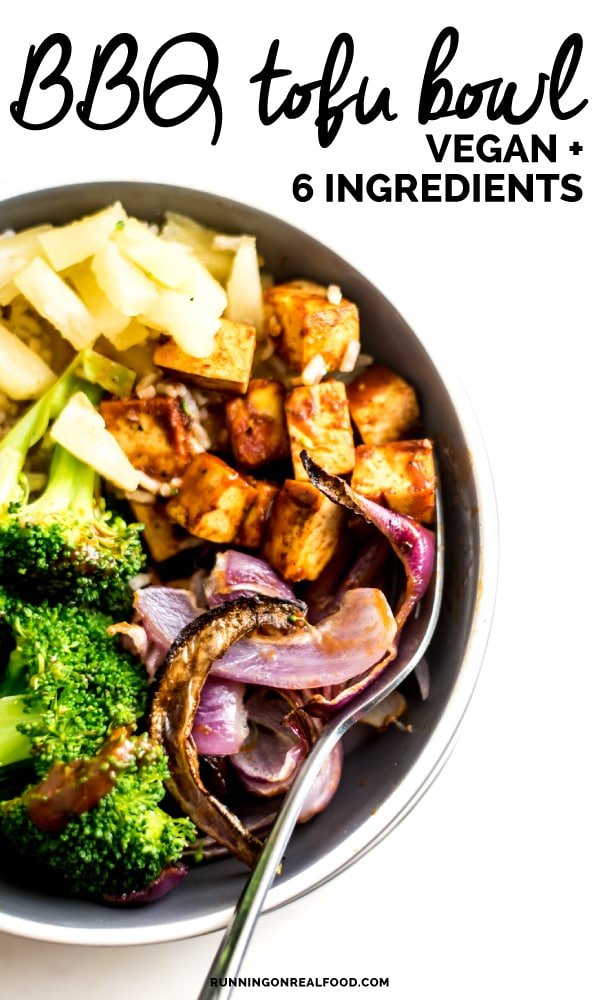 Easy 6-ingredient Vegan BBQ Tofu Bowls with steamed broccoli, pineapple, brown rice and roasted red onion. Try them for a healthy, satisfying plant-based meal.