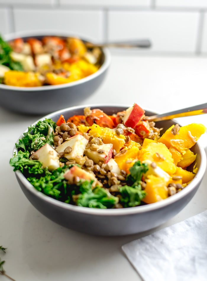 Butternut Squash and Kale Salad Bowl - Running on Real Food