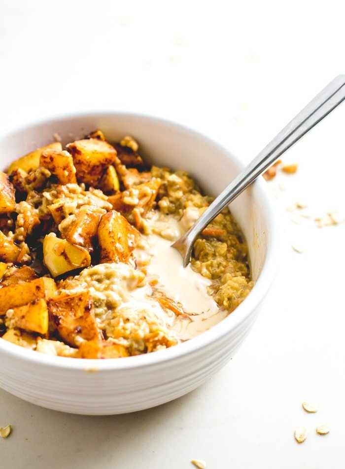 Healthy vegan breakfast recipe ideas such as carrot oatmeal.