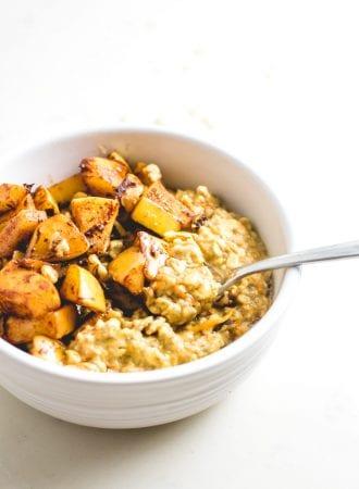 Vegan Sautéed Apple Cinnamon Oatmeal Recipe - Running on Real Food