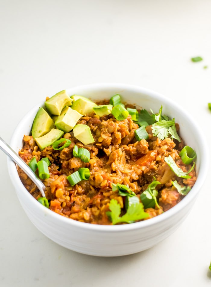 LENTIL BEEF CHILI SLOW COOKER