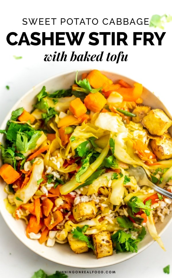 Try this vegan Sweet Potato Cabbage Cashew Stir Fry with Baked Tofu for a healthy, filling plant-based meal. Gluten-free, oil-free.