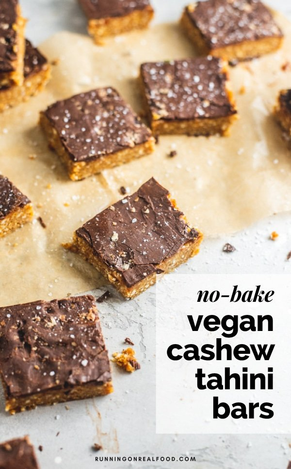 Delicious, easy, No-Bake Cashew Tahini Bars made with cashews, dates, tahini, dairy-free chocolate and sea salt. Enjoy them as a healthy dessert, energy bar or even rolled into energy balls. Gluten-free, vegan, no added sugar, oil-free.
