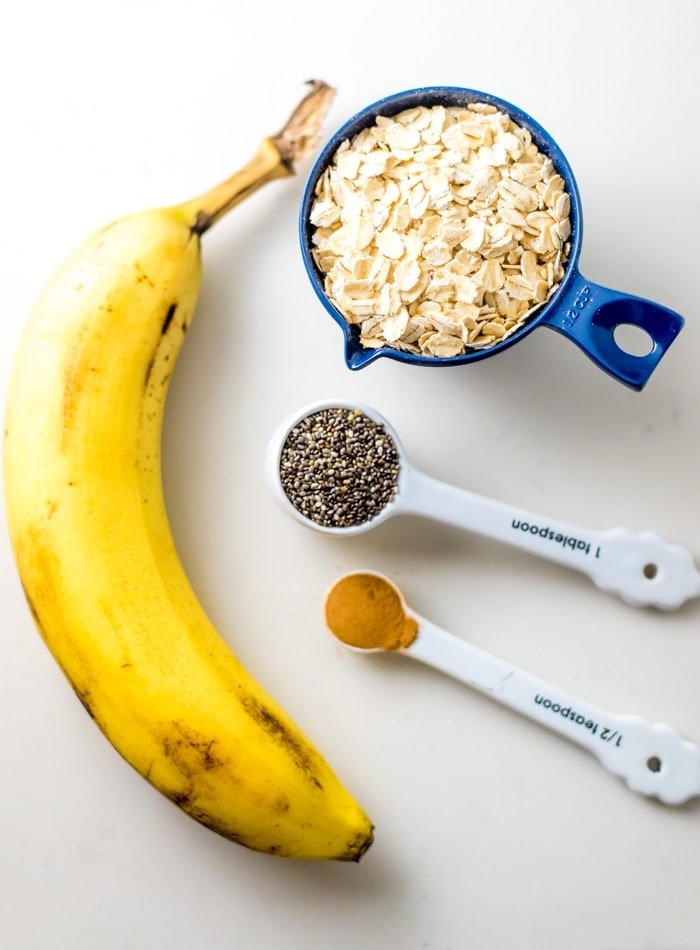 Ingredients for Creamy Banana Oatmeal - Running on Real Food