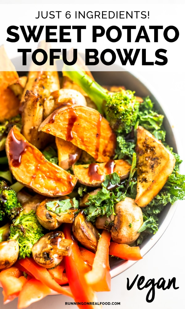 Vegan Sweet Potato Tofu Bowls made with just 6 ingredients for a healthy, easy plant-based meal. You'll need tofu, kale, sweet potato, red pepper, broccoli and mushrooms.