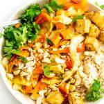 Vegan Sweet Potato Cabbage Cashew Stir Fry with Tofu - Running on Real Food