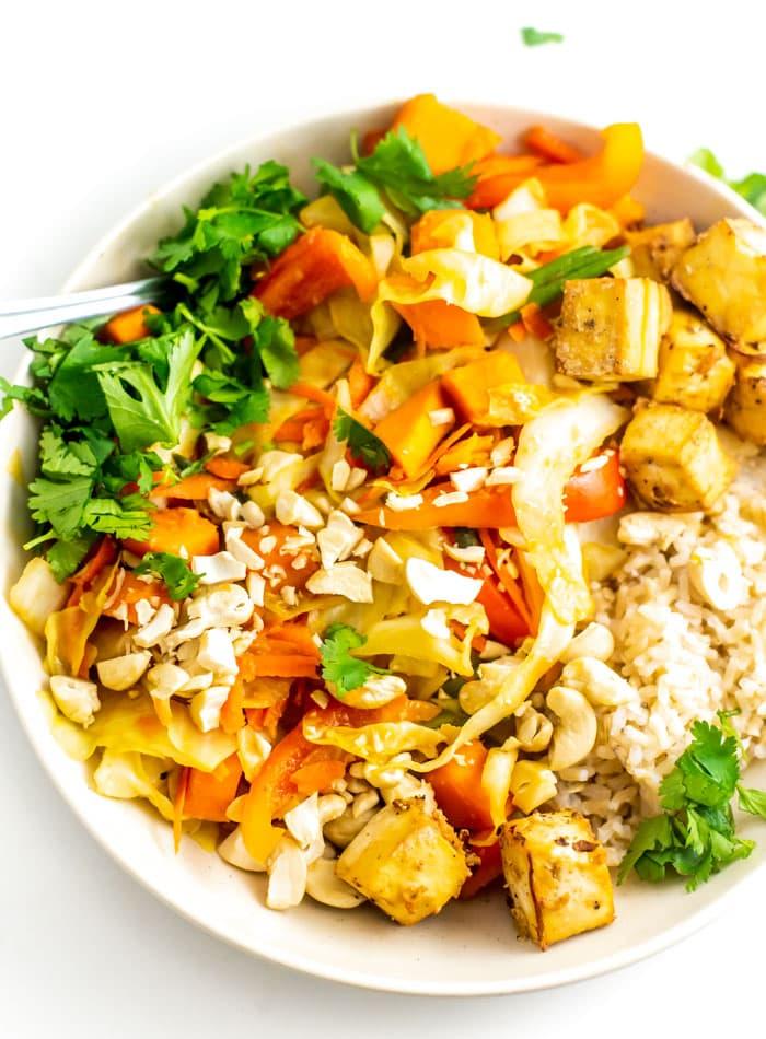 Vegan Sweet Potato Cabbage Cashew Stir Fry Recipe with Tofu - Running on Real Food