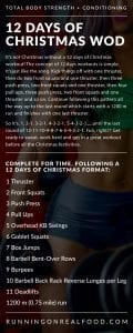 Instructions for the 12 days of Christmas workout.