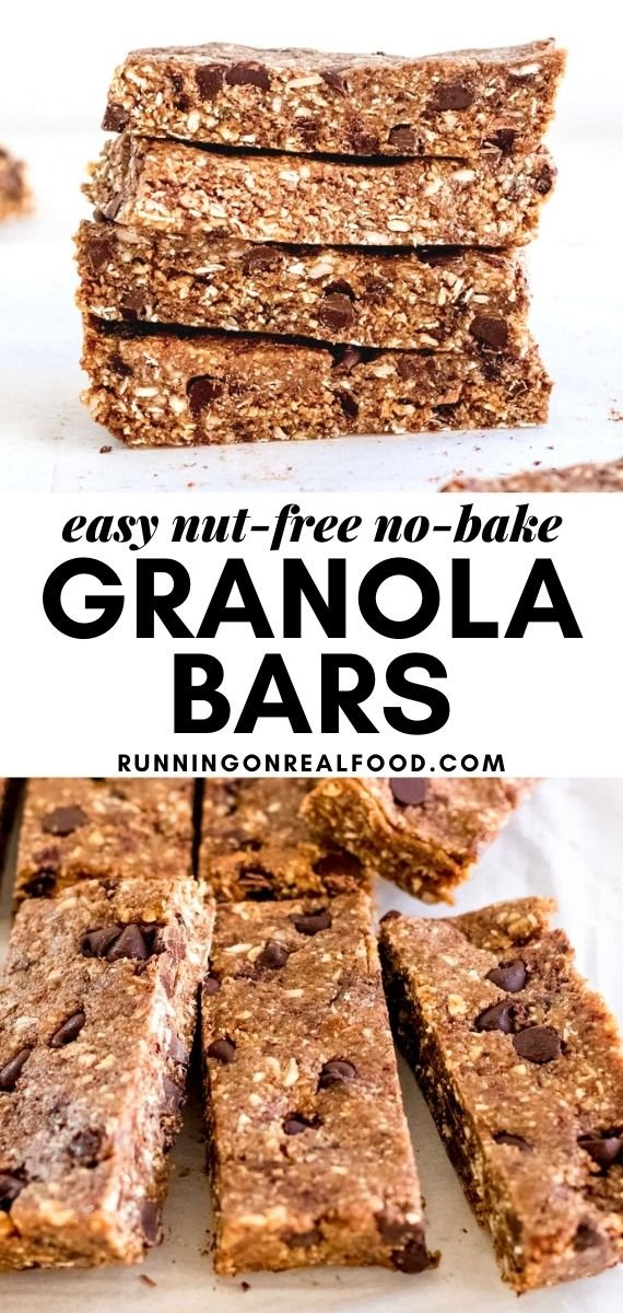 Pinterest graphic with an image and text for no-bake granola bars.