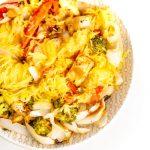 Easy Vegan Spaghetti Squash Noodles with Roasted Veggies and Tofu