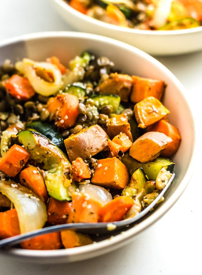 Roasted Vegetable Lentil Salad Recipe {Vegan}