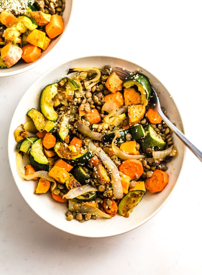 How to Make Lentil Salad with Roasted Vegetables - Running on Real Food